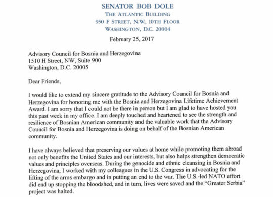 Senator Bob Dole Letter of Support for BiH